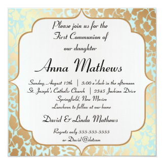 Metallic Golden Aqua Floral First Communion Card