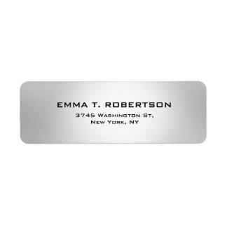 Metallic Grey Elegant Modern Trendy Minimalist Return Address Label