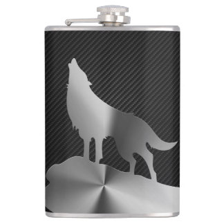 Metallic howling wolf with carbon fibre hip flask