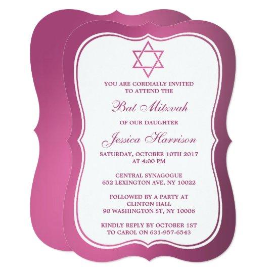Metallic Pink Jewish Star Of David Bat Mitzvah Card
