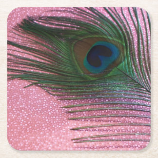 Metallic Pink Peacock Feather Square Paper Coaster