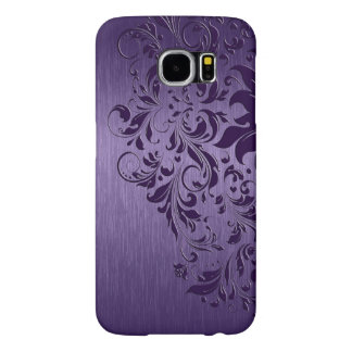 Metallic Purple Brushed Aluminum Purple Lace Samsung Galaxy S6 Cases