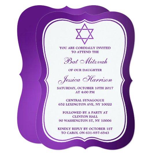 Metallic Purple Jewish Star Of David Bat Mitzvah Card