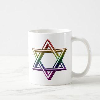 Metallic Rainbow Star of David Coffee Mug