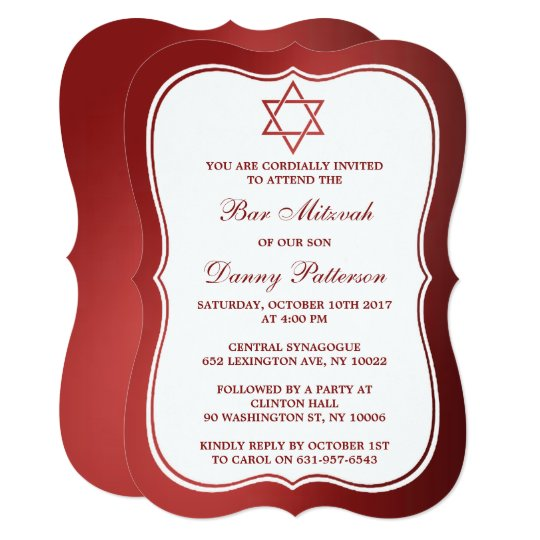 Metallic Red Jewish Star Of David Bar Mitzvah Card