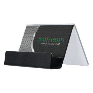 Metallic Silver Gray And Black Auto Professional Desk Business Card Holder