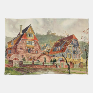 Metzendorf Watercolor German Architecture Vintage Kitchen Towel