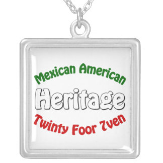 Mexican American Heritage Silver Plated Necklace