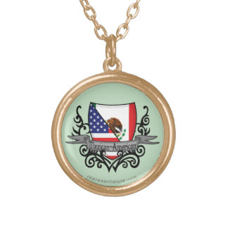 Mexican-American Shield Flag Gold Plated Necklace