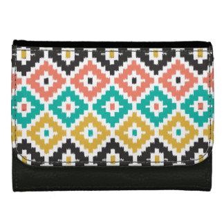 Mexican Aztec Tribal Print Ikat Diamond Pattern Wallet