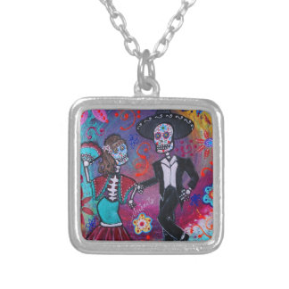 Mexican Bailar Mariachi Dancing Couple by prisarts Silver Plated Necklace