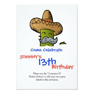 mexican cactus with mustache 13 cm x 18 cm invitation card