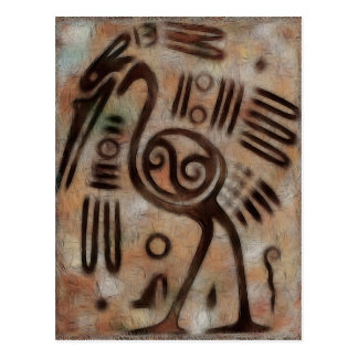 Mexican Cave Carvings Folk Art Postcard