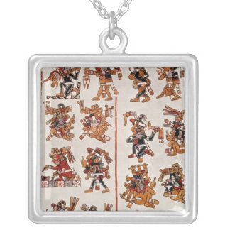 Mexican codex silver plated necklace