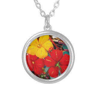 Mexican Crepe Flowers Silver Plated Necklace