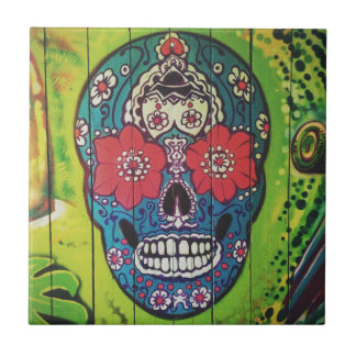 Mexican DAY of the DEAD graffiti skull art Tile