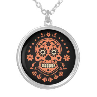 Mexican Day of the Dead Sugar Skull Silver Plated Necklace