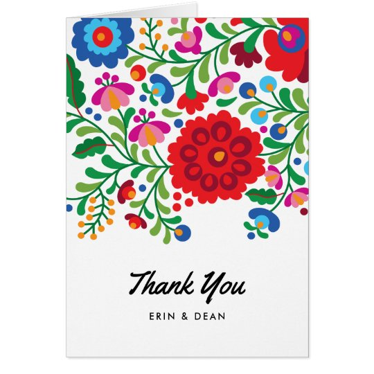 Mexican Embroidery Thank You Note Photo Card