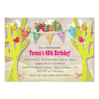 Mexican Fiesta Cactus rustic papel picado invites