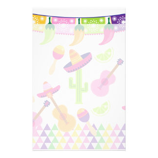 Mexican Fiesta Party Sombrero Saguaro Lime Peppers Stationery