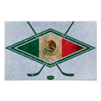 Mexican Ice Hockey Flag Poster