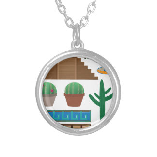 mexican pyramid silver plated necklace