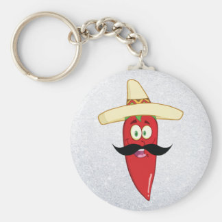 Mexican Red Pepper Basic Round Button Key Ring