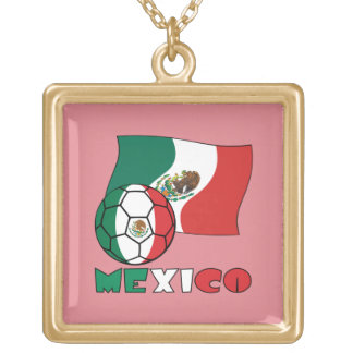 Mexican Soccer Ball and Flag Gold Plated Necklace
