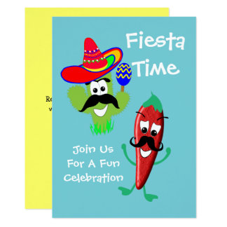Mexican Sombrero Cactus Chilli Pepper Fiesta Party 13 Cm X 18 Cm Invitation Card
