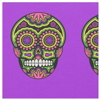 Mexican Sugar Skull Pattern Day Of The Dead Fabric
