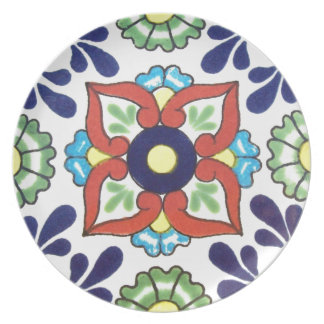 Mexican Talavera tile (red, green, yellow, blue) Party Plate