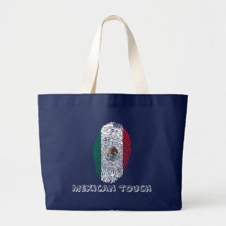 mexican touch fingerprint flag large tote bag