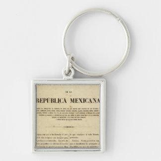 Mexico 9 Silver-Colored square key ring