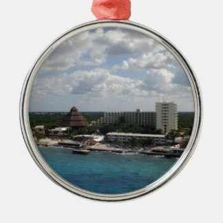 Mexico buildings and ocean christmas ornament