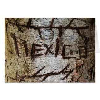 """Mexico"" Carved Tree Graffiti Greeting Card"