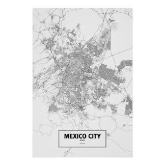 Mexico City, Mexico (black on white) Poster