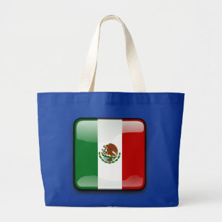Mexico glossy flag large tote bag