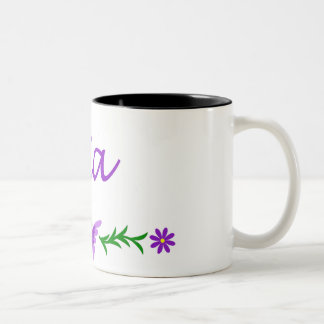 Mia (Purple Butterfly) Two-Tone Coffee Mug