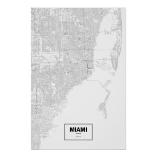 Miami, Florida (black on white) Poster