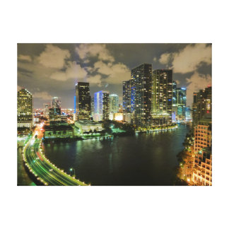 Miami skyline night canvas prints