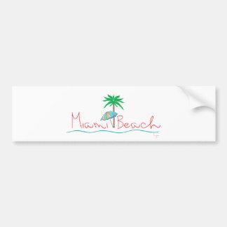 Miami with Palm and Umbrella Bumper Sticker