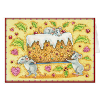Mice Stealing the Fruitcake Vintage Christmas Card