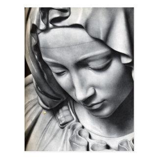 Michelangelo's Pieta detail of Virgin Mary's face Postcard