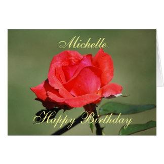 Michelle Happy Birthday Scarlet Rose Card