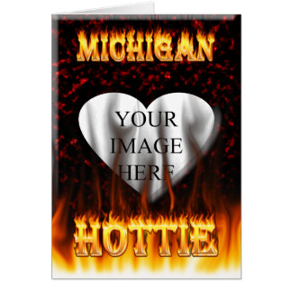 Michigan Hottie fire and red marble heart. Card