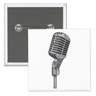 Microphone Mike ~ Audio Sound Music 15 Cm Square Badge