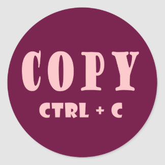 Microsoft Copy Shortcut Key Round Sticker