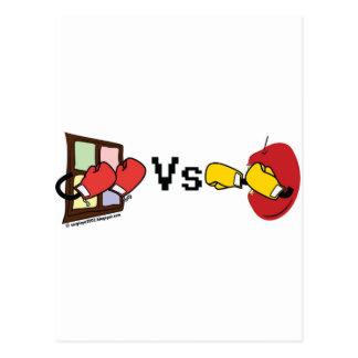 Microsoft Windows Vs Apple Mac boxing fight Postcard