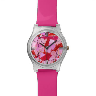 Mid-Century Modern Abstract, Dark Red and Pink Watch