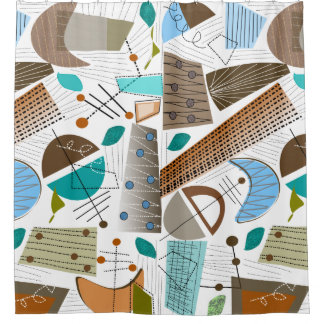 Mid Century Modern Abstract Shapes Shower Curtain